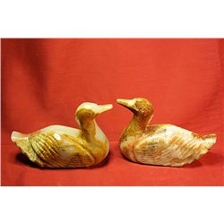 Original Hand Carved Marble  Ducks  by G. Huerta