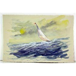After Carl Evers  Original Watercolor on Paper - Day Sailing