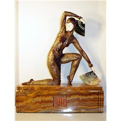 Fan Dancer - Bronze and Ivory Sculpture by Chiparus