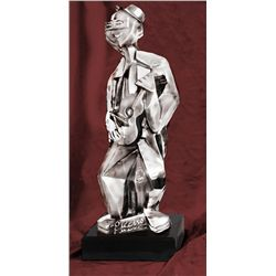 Picasso Real Silver Sculpture - Man with Guitar