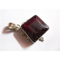 Natural 35.50 ctw Ruby Square Pendant .925 Sterling