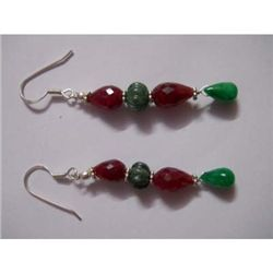 40.0 ctw Emerald and Ruby Earring .925 Sterling Silver