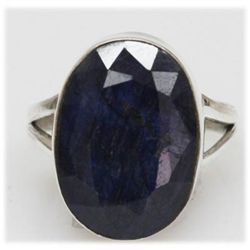 Natural 24.15 Ctw Sapphire Oval Ring .925 Sterling