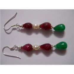 40.0 ctw Emerald and Pearl Earring .925 Sterling Silver