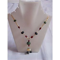 160.0 ctw Emerald Ruby and Pearl Necklace .925 Sterling