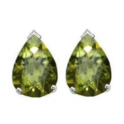 Natural 2.10 ctw Peridot Pear Earrings .925 Sterling