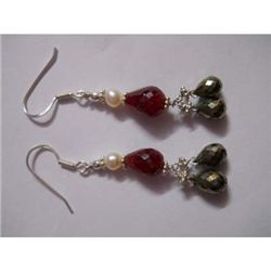 40.0 ctw Ruby and Pearl Earring .925 Sterling Silver