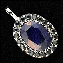 Lady's Beautiful Sapphire White Gold Pendant