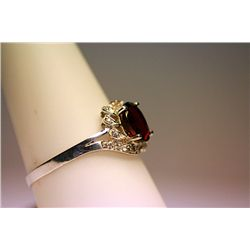 Lady's Fancy 14 Kt Garnet & Diamond Ring