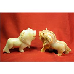 Original Hand Carved Marble  Lions  by G. Huerta