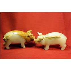 Original Hand Carved Marble  Pigs  by G. Huerta