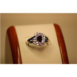 Lady's Fancy 14kt White Gold Ruby & Diamond Ring