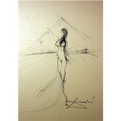 Original Hand Draw, Ink Drawing  Signed  Dali -UNTITLED -