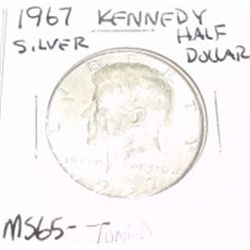 1967 Kennedy SILVER Half Dollar *RARE TONED MS-65 HIGH GRADE - NICE COIN*!!