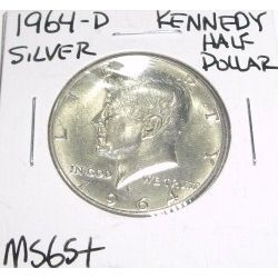 1964-D Kennedy SILVER Half Dollar *RARE MS-65+ HIGH GRADE - NICE COIN*!!