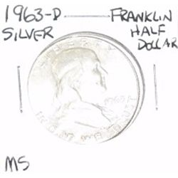 1963-D Franklin SILVER Half Dollar *RARE MS GRADE - PLEASE LOOK AT PICTURE TO DETERMINE GRADE - NICE
