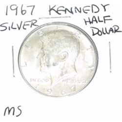 1967 Kennedy SILVER Half Dollar *RARE MS GRADE - PLEASE LOOK AT PICTURE TO DETERMINE GRADE - NICE CO
