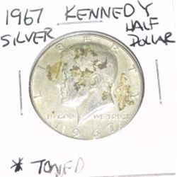 1967 Kennedy SILVER Half Dollar *TONED - PLEASE LOOK AT PICTURE TO DETERMINE GRADE - NICE COIN*!!