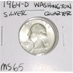1964-D Washington Silver Quarter *RARE MS-65 GRADE - NICE COIN*!!