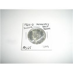 1964-D SILVER Kennedy Half Dollar *RARE GEM MS-65 HIGH GRADE*!!