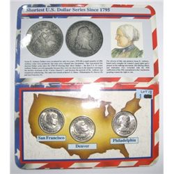 1979 First Year Mint Set - 3 Coin Susan B. Anthony Dollar Set *S,P & D* - Nice Set!!