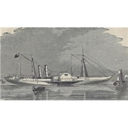 ORIGINAL Antique PRINT scene The Confederate Steamer ~