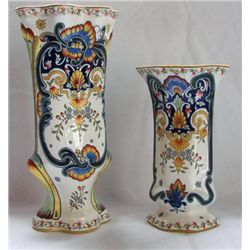 FY129W PAIR French Vases white Measures 12~ and 8.5~