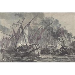 ORIGINAL Antique PRINT scene-BATTLE OF THE MASTS