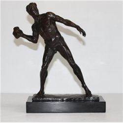 Tenacious Male Nude Athlete with Shotput Bronze Sculpt