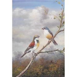 5 x 7 Oil on Board ~Perching Birds~ Signed Sonje