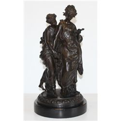 Charming Bronze Sculpture Victorian Sisters