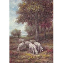 MWF1383Z 5x7 Oil on Board Depiciting Sheep Pasture Scen