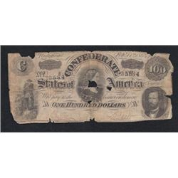 MWF912C 1864 Confederate $100 Note Richmond Number 20