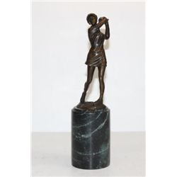 Brilliant Lady Golfer Swinging Bronze Sculpture After