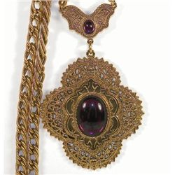 Vintage 1928 Victorian Revival Gold Filigree Purple Cab