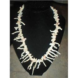 Vintage Coral Branch Whiteand Salmon Necklace MWF1740