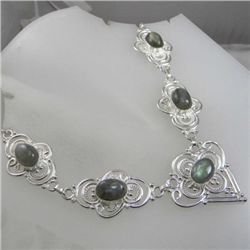 Rare Labradorite and Sterling Silver Necklace MWF1769