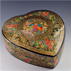 Lovely Handpainted Floral Heart Jewelry Box