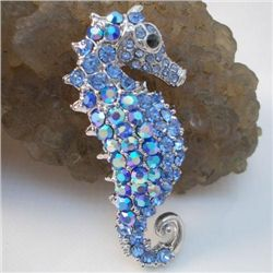 Fantastic Swarovski Crystal Sea horse Brooch Pin