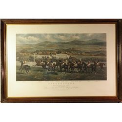 Lithograph   1872 Punchestown Horse Raise  Painted by Sturgess