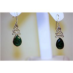 Lady's Fancy Style Sterling Colombian Emerald Earings