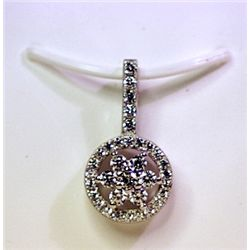 Lady's Antique Style Sterling Silver White Sapphire Pendant
