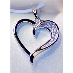 Lady's Very Fancy Sterling Silver  Heart  Diamond Pendant