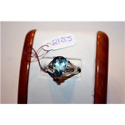 Lady's Fancy 14 kt White Gold Pear Shape Royal Blue Topaz Ring