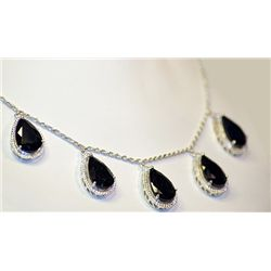 Lady's Very Fancy Silver 925  Pear Shape  Blue Sapphires Necklace