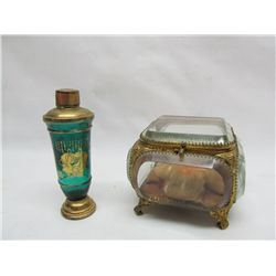 Perfumer and antique jewellery case.