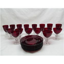 Ruby glass stemware.