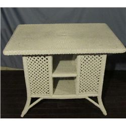 White wicker occasional table.
