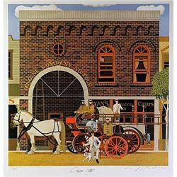 Filmore Mix Media Lithograph  Engine Company No. Four