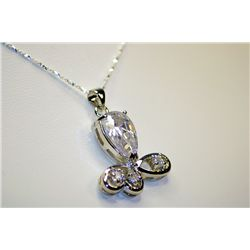 Lady's Beautiful Sterling White Sapphire Necklace